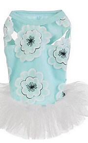 개 드레스 강아지 의류 여름 꽃장식 귀여운 캐쥬얼/데일리 퓨샤 핑크 밝은 블루