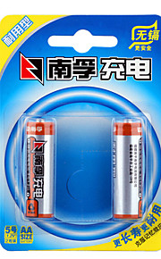 NANFU AA Nickel Metal Hydride Rechargeable Battery 1.2V 1600mAh 2 Pack