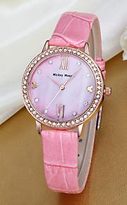 아가씨들 패션 시계 석영 가죽 밴드 핑크 핑크