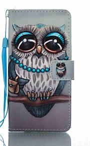 For Pung Kortholder Med stativ Flip Mønster Etui Heldækkende Etui Ugle Hårdt Kunstlæder for Huawei Huawei P8 Lite (2017) Huawei Mate 9