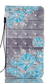 For Samsung Galaxy J3 J5 (2017) Case Cover Blue Flower Pattern Glare 3D Dimensional Glossy PU Material Stent Card Holster J3 J5 (2016) J7 (2017) J3