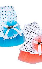 개 드레스 강아지 의류 여름 프린세스 귀여운 캐쥬얼/데일리 오렌지 블루