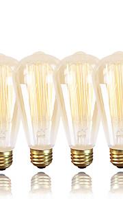 gmy®st64 edisonヴィンテージバルブ220-240v 60w e27アンバー暖かい白の装飾的なディマーブル4個