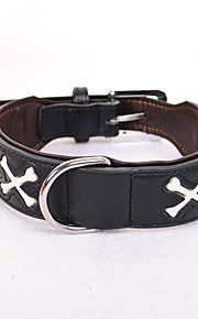 Hundar Halsband Justerbara/Infällbar Solid PU Läder Svart Brun Röd