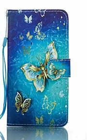 For Pung Kortholder Med stativ Flip Mønster Etui Heldækkende Etui Sommerfugl Hårdt Kunstlæder for HuaweiHuawei P8 Lite (2017) Huawei Mate