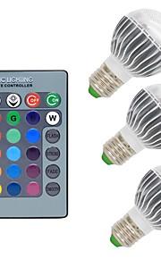 3W E26/E27 LED-globepærer G50 1 COB 300 lm RGB Dimbar Fjernstyrt Dekorativ AC 85-265 V 3 stk.