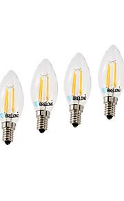 4W E14 LED-glødepærer C35 4 COB 377 lm Varm hvit Kjølig hvit Dimbar AC220 V 4 stk.