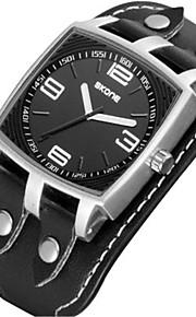 SKONE Masculino Relógio Esportivo Quartzo Impermeável PU Banda Preta Marrom