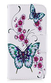 samsung galaxy a5(2017)a3(2017)phone case puレザー素材peach butterfly pattern painted a5(2016)a3(2016)