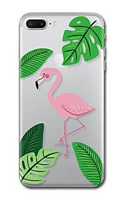 아이폰 7 플러스 7 케이스 커버 투명 패턴 뒷면 커버 케이스 잎 홍학 소프트 tpu iphone 6s plus 6s 6 plus 6 5s 5 se