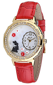 Dames Modieus horloge Japans Kwarts Waterbestendig Leer Band Rood Groen Roze