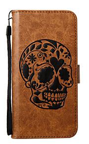 아이폰에 대 한 7plus 7 전화 케이스 pu 가죽 소재 두개골 패턴 양각 된 전화 케이스 6s 플러스 6plus 6s 6 se 5s 5