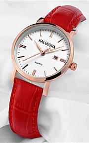 Mulheres Relógio de Moda Japanês Quartzo Calendário Impermeável Couro Banda Brilhante Preta Vermelho Marrom