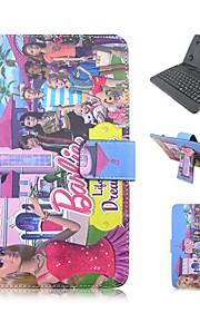 ipadケースキーボードusb英語版ipad mini123 mini4用7-8インチ普遍的な3D漫画PUレザーケース