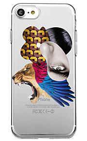 Voor iphone 7 plus 7 case cover transparant patroon achterkant hoesje dierenveren soft tpu voor iphone 6s plus 6s 6 plus 6 5s 5 se