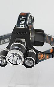 3Pcs LED Cree T6 2R2  Headlamp Lights 3 Mode Handsfree Flashlights White/Green Lighting Color Fishing/Hunting Headlight
