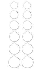 1Set Women's Earring Back Hoop Earrings Ball Earrings Euramerican Fashion Personalized Simple Style British Ferroalloy Metal AlloyCircle Round