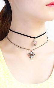 Dame Kort halskæde Halskædevedhæng Halskæder med flere lag Imiteret Diamant Nylon Multi-bæremåder beklædning Smykker TilBryllup Fest
