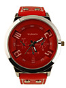 Fashion Korea PU Leather Band Style Handsome Quartz Men Women Wrist Watch - Red