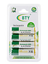 BTY 2500mAh AA Ni-MH Rechargeable Battery Set (4-pack)