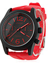 мужчин и женщин силиконовые аналоговые кварцевые наручные часы (красный)