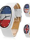 unisexe pu analogique montre-bracelet à quartz avec le logo de drapeau (blanc)