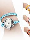 trançado elegante mulher estilo corda pu pulseira de couro analógico relógio pulseira de quartzo (cores sortidas)