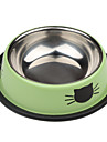Cat Pattern Stainless Style Pet Dogs Bowl