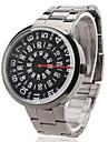 남성의 철강 아날로그 석영 손목 시계 (실버)