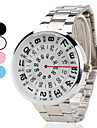 Unisex Creative Turntable Style Silver Steel Band Quartz Wrist Watch (Assorted Colors)
