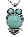 Et Logy Fat Owl modèle Tibetan Silver Turquoise Collier