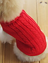Cat / Dog Sweater Red / Green / Blue / Brown / Pink / Gray Dog Clothes Winter / Spring/Fall Solid Classic / Keep Warm