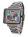 унисекс модели ТВ квадратный корпус серого стали Кварцевые аналоговые наручные часы