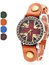 Les femmes de l'Union Jack en cuir de style analogique montre-bracelet à quartz (couleurs assorties)