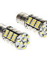 Ba15s/1156 3W 6000-6500K 216LM 54x3528SMD LED White Light Bulb (DC 12V, 1-Pair)