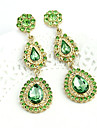 Women\'s   Waterdrop Gold Plated Alloy Green Zircon Earrings