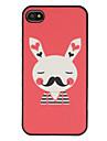 Симпатичные краснея г-н Банни с усами Pattern Сияющий матовый PC Жесткий чехол для iPhone 4/4S