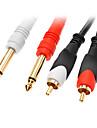 jsj® 1.5m 4.92ft 2x6.35mm seul male de la piste pour 2xRCA cable audio male