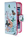 Para Samsung Galaxy Capinhas Porta-Cartao / Com Suporte / Flip / Estampada / Magnetica Capinha Corpo Inteiro Capinha Borboleta Couro PU