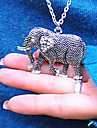 Retro diamond carved elephant long necklace N575