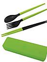 путешествовать портативный съемный пластиковый палочки для еды + ложка + вилка Набор с футляром для хранения (случайный цвет)