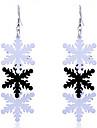 European Style Sweet Three Pieces Snow  Aluminum Sheet Drop Earrings