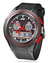 Мужской Армейские часы Кварцевый Японский кварц LCD Календарь Секундомер С двумя часовыми поясами тревога Pезина Группа Черный марка