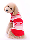 Dog Sweater Red Dog Clothes Winter Spring/Fall Hearts Cute