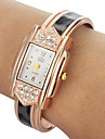 Women's Diamante Rectangle Dial Leopard Grain Band Quartz Analog Bracelet Watch Cool Watches Unique Watches