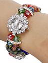 Femme Bracelet de Montre Montre Diamant Simulation Quartz Bande Fleur Bayadère