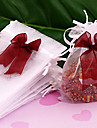 12x10cm 50pc blanco boda organza bolsa de regalo drawtring pouche