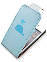 Whale Pattern Up-Down Turn Over PU Leather Full Bady Case for iPhone 4/4S
