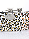 Presente personalizado Leopard Print Pattern 5 oz PU Leather Capital Letters Flask