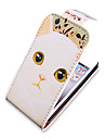Cartoon Cat Pattern Up-Down Turn Over PU Leather Full Bady Case for iPhone 4/4S